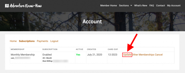 Update membership info